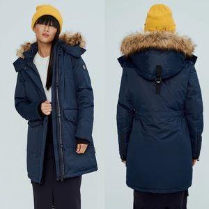 Noize Nora Blue M Long Parka Fur Hood Cold Coat
